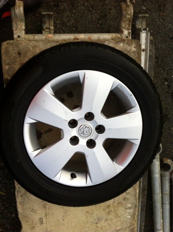 Vauxhall alloy wheel and tyre