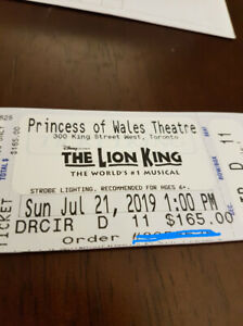 Tickets for sale, Lion King the musical