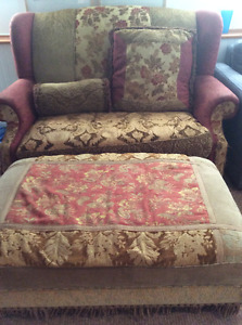 Large chintz and co chair and ottoman