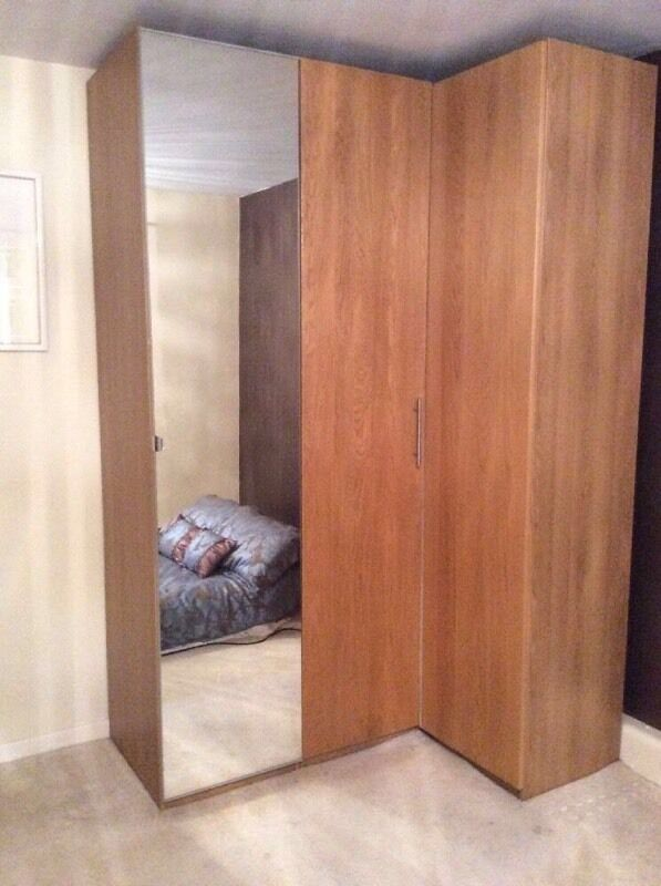 Ikea oak corner wardrobe with mirrored door in maesteg for 1 door corner wardrobe