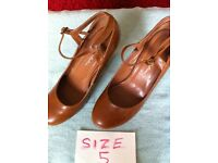 Tan colour shoes, size 5