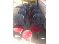 Eight aluminium garden chairs + stool