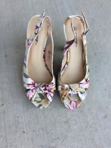 Floral Heels With Cork Pumps