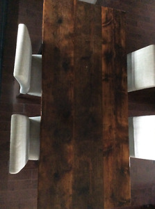 Reclaimed Rustic Barn Board Harvest Table with Chairs Kingston Kingston Area image 3
