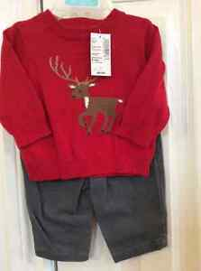 Christmas sweater w/ deer grey  pants new The Children's Place