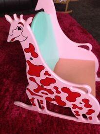 Wooden little girls giraff chair , age 1/3.