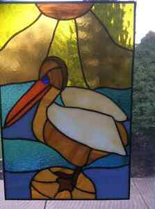 Hand made stained glass pelican (original one of a kind)