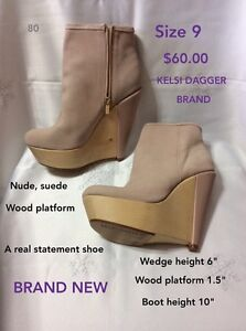 Size 9 nude suede boot