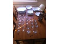 Set of plates and glasses