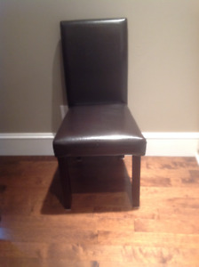 4 dark brown  Faux Leather dining room chairs