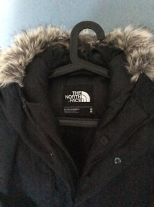 North face high end winter parka with shoulder straps like new