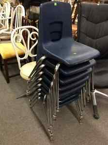 Pre-school moulded resin stacking  chairs with metal legs