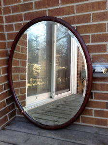Bevelled Oval Mirror with Wood Frame - moving sale