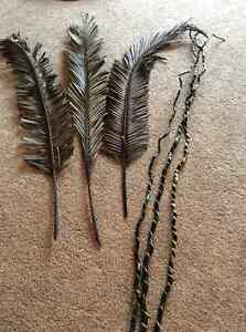 Decorative Tall Sicks and Feathered Wood Pieces REDUCED