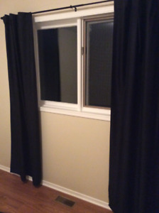Blackout curtains, black in colour, complete with rod (3 sets)