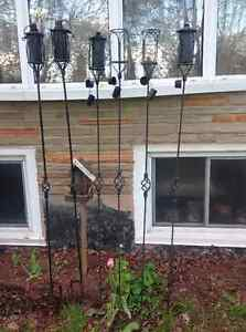 6 OUTDOOR METAL OIL TORCHES - $15 EACH