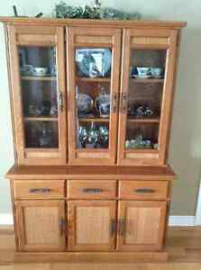 Solid oak dining table & china cabinet