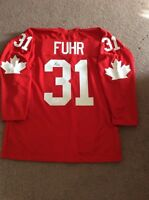 Grant Fuhr team canada signed jersey