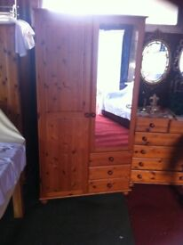 pine wardrobe with mirror and drawers