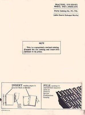 John Deere 1010 Tractor Wheel Landscape Parts Manual
