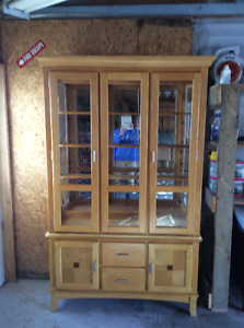 Solid Wood Dining Room Table & Matching Hutch