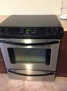 Stainless steel glass-top slide-in range ** quick sale**