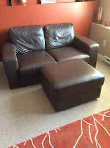 IKEA brown leather love seat, 2 chairs and an ottoman