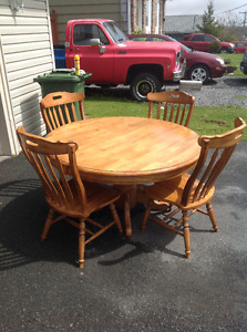 Oak table & chairs $200.00