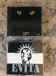 CD's Broadway Shows CATS and EVITA both are 2 disc sets