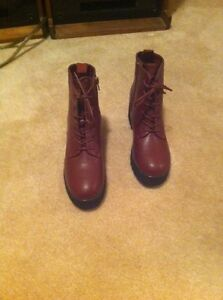 Burgundy brown leather boots
