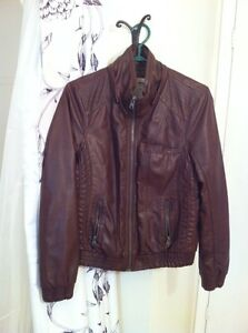 Faux brown leather quilted bomber jacket-GARAGE