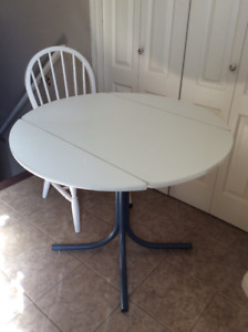 Small round table and chair