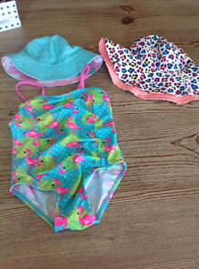 Girls Bathing Suit and Hats