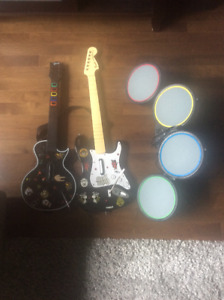 Guitar and drum set for rock band ps3 guitar hero guitar ps3