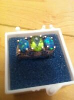 Sterling Silver Peridot and Opal Ring