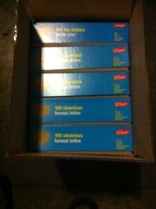 5 unused boxes of 100 file folders
