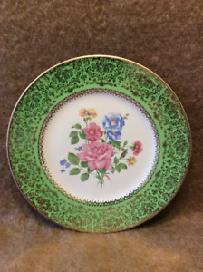 Floral Plate with 23 Carat Gold Trim
