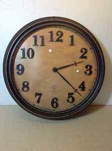 Old world wall clock with glass lens - 15 inch diameter