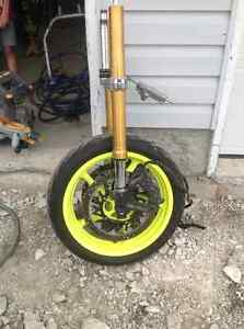 Yamaha YZF R1 1000 complete front end forks wheel calipers rotor