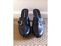 Black leather mules, size 5