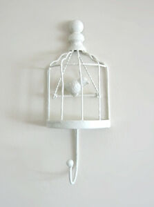Small cottage chic wrought iron birdcage hanger