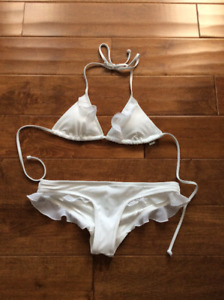 White Ruffle Trim Triangle Bikini Top & Bottom Victoria's Secret