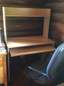 COMPUTER DESK OR WORK STATION WITH SHELF AND SLIDE-OUT SURFACE