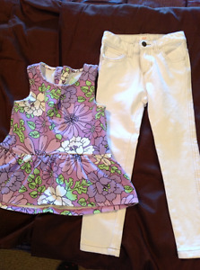 Excellent condition jeggings and top size 4
