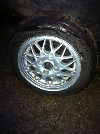"""Genuine vw bbs 14"""" alloy wheels with good stretched tyres"""