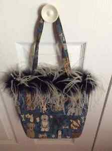Unique Blue Dog Print Purse with Ostrich Feathers Windsor Region Ontario image 2