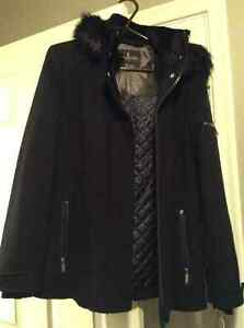 NEW Women's London Fog Navy Wool Blend Parka With Faux Fur