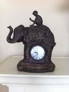 Bronze/resin Elephant & Monkey Mantle Clock