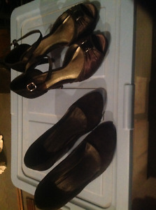 Two pair of women's black dress shoes 6.5