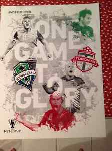 MLS Cup Final poster and autographed mini soccer ball